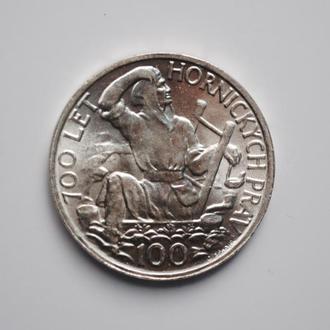 Чехословакия 100 крон 1949 г., UNC, '700 лет Праву добычи серебра в Йиглаве'