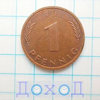 Монета Германия ФРГ 1 пфенниг 1991 G Карлсруэ Сталь с медным покрытием магнит