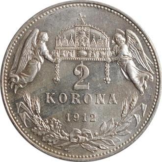 """Венгрия 2 кроны 1912 г., UNC, """"Император Франц Иосиф I (1848 - 1916)"""""""