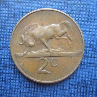 монета 2 цента ЮАР 1967 фауна антилопа голландская легенда