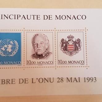 Монако 1993 юбилей приёма Монако в ООН Михель = 12 евро**