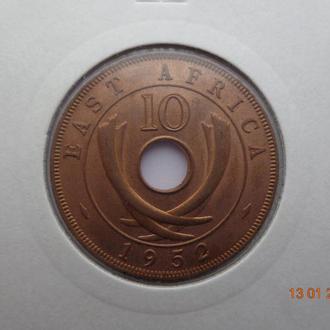 Восточная Африка 10 центов 1952 George VI СУПЕР состояние редкая