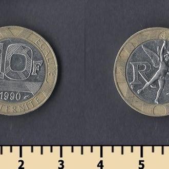 Франция 10 франков 1990