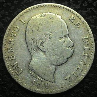 Италия, 1 лира 1886 год Серебро !!!!!