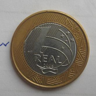 Бразилия, 1 реал 2008 г. (БИМЕТАЛЛ).