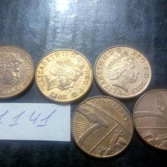 1 пенни 2013 Великобритания. Пять монет одним лотом!