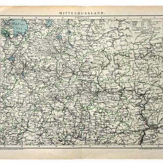 Карта Центральная Россия 1892-95 Германия Fv8.8