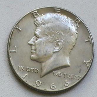50 Центів 1966 р США Срібло 1/2 Доллара 1966 г 50 Центов 1966 г США Серебро