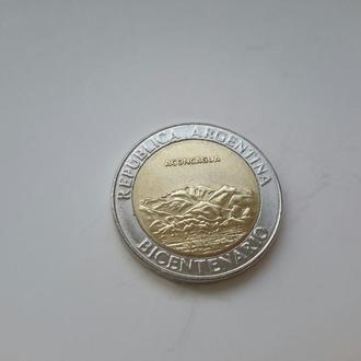 """Аргентина. 1 песо  2010 год. """"200-летие Революции""""."""