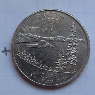 """США. 25 центов 2005 года (ШТАТ ОРЕГОН) """"Р""""."""