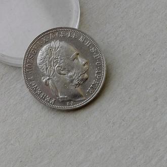 Австро Венгрия 1 форинт 1883 серебро Ag (редкий) !