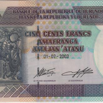 Бурунди 500 франков 01.07.2003 в UNC из пачки.