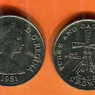 ШАРА!! Теркс и Кайкос 1/2 кроны 1981 Мельница UNC из рола Елезавета II