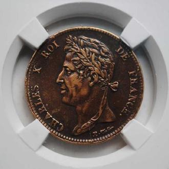 Колонии Франции 5 сантим 1827 г., РЕДКАЯ, СОХРАН