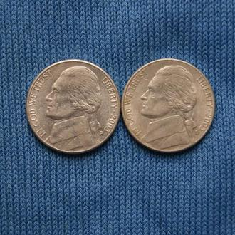 США 5 центов  2003 г   P D   2шт
