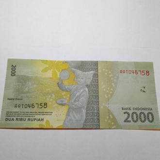 2000 рупий 2016  Индонезия, пресс, Unc, оригинал