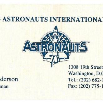 Визитка Young Astronauts International, YAI, Юные Астронавты, глава Jack Anderson