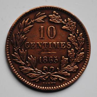Люксембург 10 сантим 1865 г., 'Великий герцог Виллем ІІІ (1849-1890)', РЕДКАЯ + СОСТОЯНИЕ