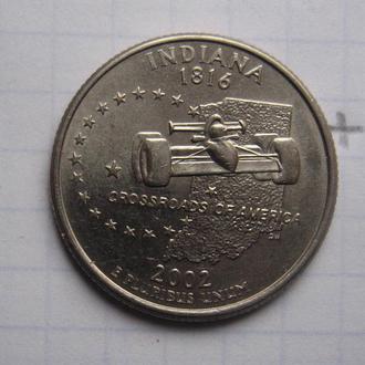 """США, 25 центов 2002 года (ШТАТ ИНДИАНА) """"Р""""."""