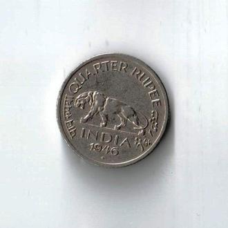 1,4 (четверть) рупия Индия Георг VI - 1946 год