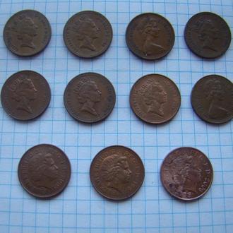 1 пенни, погодовка 1971-2008 гг., Великобритания (см. описание).