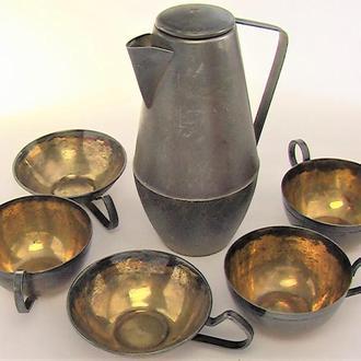 Кофейник и чашки мельхиор посеребрение СССР разные