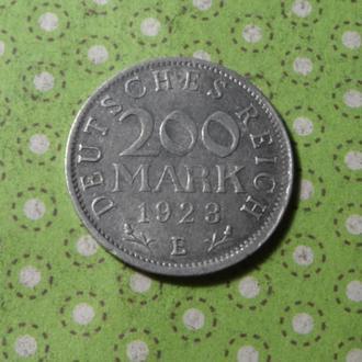 Германия 1923 год монета 200 марок Е !