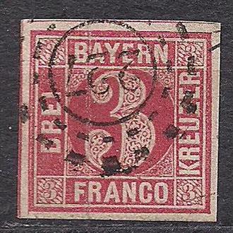 Бавария, немецкие земли, 1862 г., марка № 9, акция!!!, 20% каталога