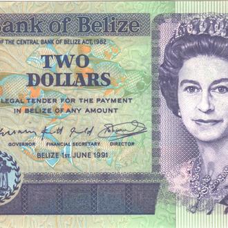 Белиз 2 доллара 1991г. в UNC