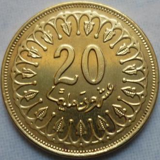 Тунис 20 миллимов 2007 состояние