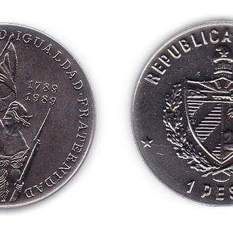 Куба 1 песо 1989 , 200-летие Французской революции
