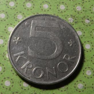 Швеция 1988 год монета 5 крон !