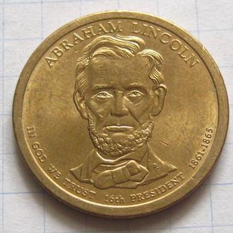 США_ 1 доллар 2010 года P  16-й президент Авраам Линкольн