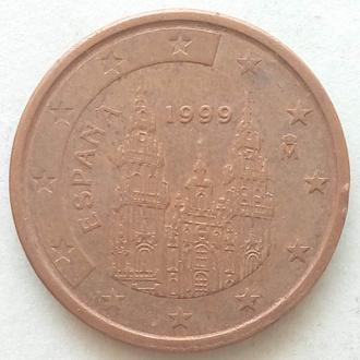 (А) Испания 2 евроцента евро цента 1999