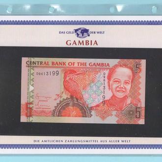 ГАМБИЯ банкнота 5 Dalasis UNC из серии «Das Geld Der Welt» ГАМБІЯ + сертификат + альбомный лист