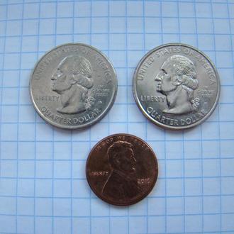 25 центов (квотер) 1999 г. Коннектикут (D) и Делавэр (P) + 1 цент 2016 г., США.