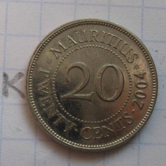 МАВРИКИЙ 20 центов 2004 г.