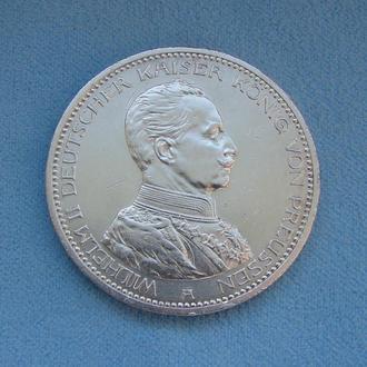 5 МАРОК ГЕРМАНСКАЯ ИМПЕРИЯ Пруссия 1913 г. Серебро 900. FÜNF MARK Кайзер Вильгельм II (Мундир).