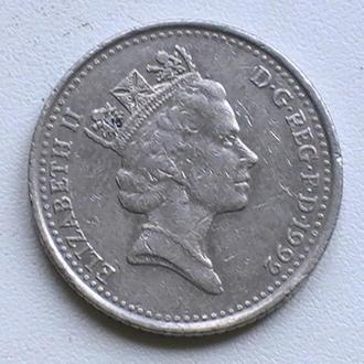 10 Пенсів 1992 р Великобританія 10 Пенсов 1992 г Великобритания