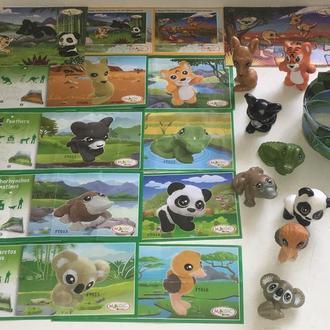 Киндер. Серия животные с диорамами. Джунгли.  FT009 - FT016 8 шт + 8 вкл + 2 пазла с вкл