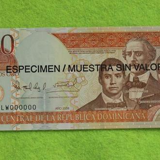 Доминикана 100 песо 2006 ОБРАЗЕЦ UNC