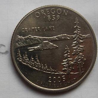 """CША, 25 центов 2005 года (ОРЕГОН) """"D""""."""