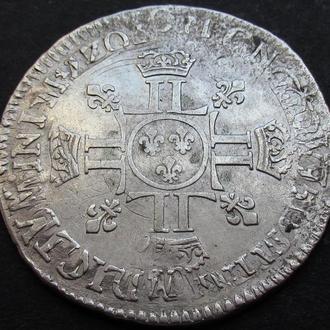 пол экю 1704? Людовик 14 редок двойной перечекан! родной блеск серебро (бесплатн доставка из Польши)