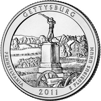 25 центов США Геттисбург Пенсильвания 2011