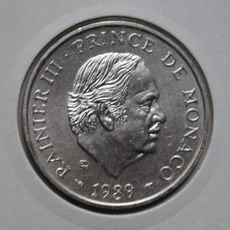 Монако 100 франков 1989 г., UNC, '40 лет правления Ренье III'