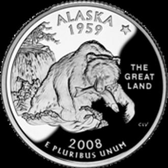 25 центов США Аляска 2008 г. из ролла