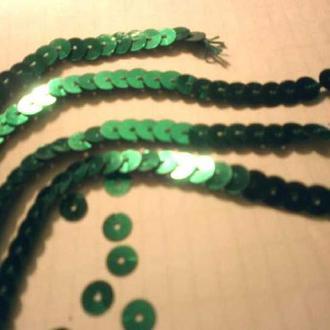 ПАЙЕТКИ  ярко-зеленые, ленточки