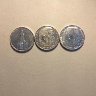 Три монети по 5 марок, Німеччина, ІІІ рейх.