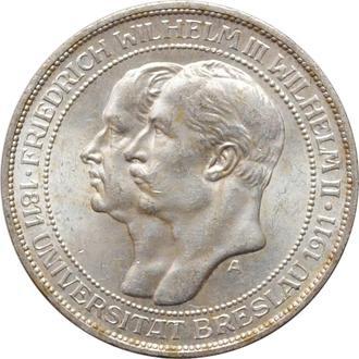 "Пруссия 3 марки 1911 г., UNC, ""Бреславский университет"""