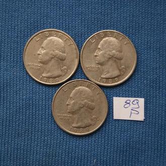 США 25 центов квотер 1989 г  P